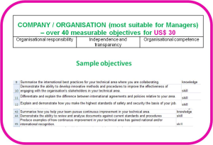 competence objectives - topic: company/organisation competence