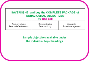 competence objectives - topic: complete behavioural package