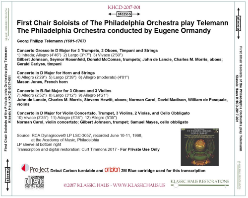 First Additional product image for - First Chair Soloists of The Philadelphia Orchestra play Telemann