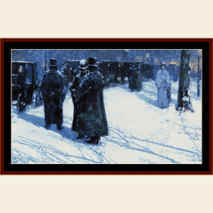 Cab Stand at Night, New York - Childe-Hassam cross stitch pattern by Cross Stitch Collectibles | Crafting | Cross-Stitch | Wall Hangings