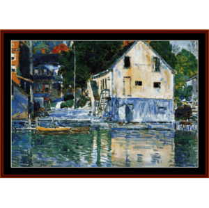 Casa Eby, Cos Cob - Childe-Hassam cross stitch pattern by Cross Stitch Collectibles | Crafting | Cross-Stitch | Wall Hangings