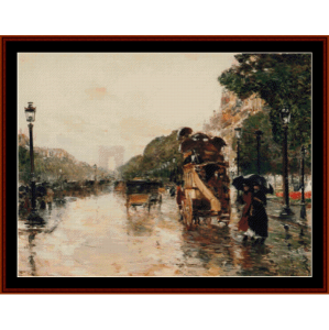 champs elysees, paris - childe-hassam cross stitch pattern by cross stitch collectibles