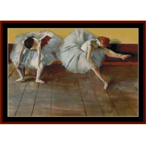 two ballet dancers at rest - degas cross stitch pattern by cross stitch collectibles