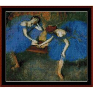 two dancers in blue - degas cross stitch pattern by cross stitch collectibles