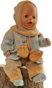 dollknittingpatterns modell 0165d gabriela - jacke, mütze, anzug, socken und handschuhe-(deutsch)