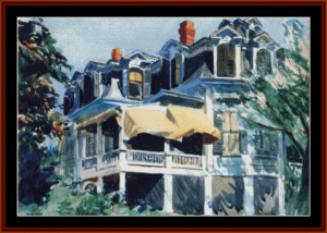 the mansard roof - hopper cross stitch pattern by cross stitch collectibles