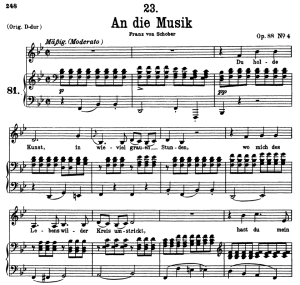 an die musik d.547, low voice in b-flat major, f. schubert