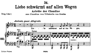 Arietta der Claudine D.239-6 Liebe schwärmt auf allen wegen, Low Voice in A-Flat Major, F. Schubert | eBooks | Sheet Music