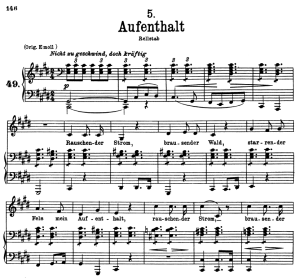 Aufenthalt D.957-5, Low Voice in C Sharp minor, F. Schubert | eBooks | Sheet Music