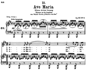 ave maria d.839, low voice in g major, f. schubert. in german. a4 (portrait).