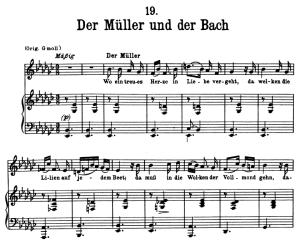 der müller und der bach, d.795-19 , low voice in e-flat minor, f. schuber (die schöne müllerin), pett