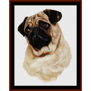 pug (new edition) cross stitch pattern by cross stitch collectibles