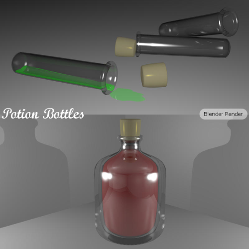 Second Additional product image for - POTION BOTTLES for Game Dev (BLEND, DAE, FBX, OBJ)