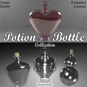 potion bottles for game dev (blend, dae, fbx, obj)