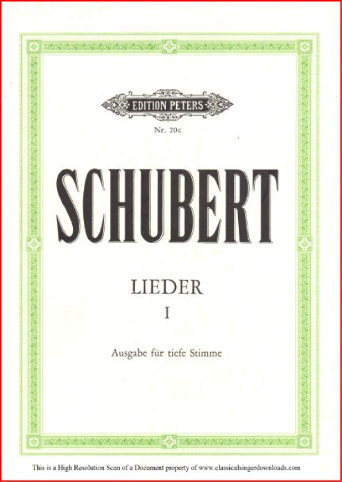 First Additional product image for - Des Baches Wiegenlied, D.795-20 , Low Voice in B-Flat Major, F. Schubert (Die Schöne Müllerin), Pet