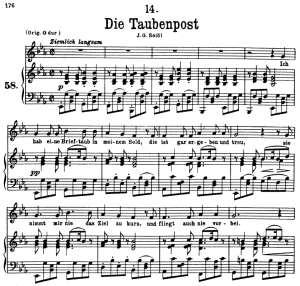 die taubenpost, d.957-14, low voice in e-flat major, f. schubert