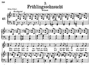 frühlingssehnsucht d.957-3, low voice in f major, f. schubert