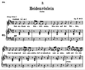 heidenröslein d.257, low voice in d major, f. schubert