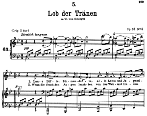 lob der tränen d.711, low voice in b-flat major, f. schubert