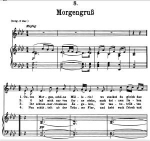 Morgengruss D.795-8, Low Voice in A-Flat Major, F. Schubert (Die Schöne Müllerin), Pet | eBooks | Sheet Music