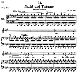 nacht und träume d.827, low voice in a-flat major, f. schubert