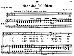 nähe des geliebten d.162, low voice in d-flat major, f. schubert