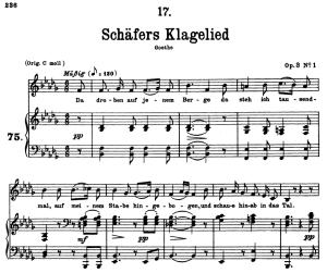 schäfers klagelied d.121, low voice in b-flat minor, f. schubert.