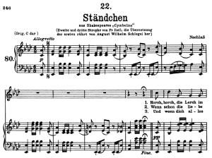 ständchen d.889, horch, horch die lerch, low voice in a-flat major, f. schubert.