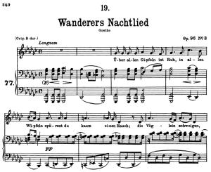 wanderers nachtlied d.768, uber allen gipfeln ist ruh, low voice in g-flat major, f. schubert