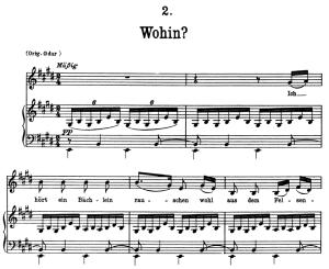 wohin d.795-2, low voice in e major, f. schubert