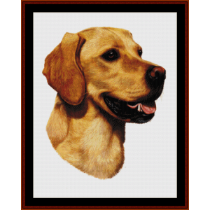 yellow labrador (new edition) cross stitch pattern by cross stitch collectibles