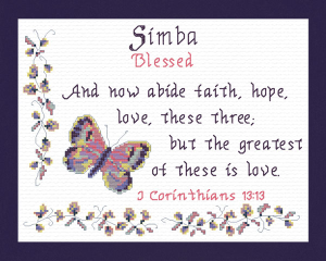 Name Blessings - Simba | Crafting | Cross-Stitch | Religious