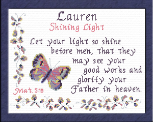 Name Blessings - Lauren 3 | Crafting | Cross-Stitch | Religious