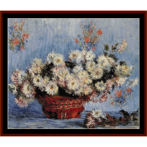 basket of chrysanthemums, 1878 - monet cross stitch pattern by cross stitch collectibles