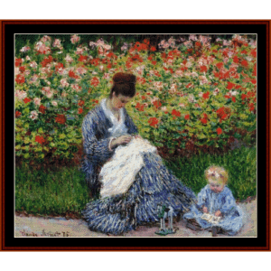 madame monet & child - monet cross stitch pattern by cross stitch collectibles