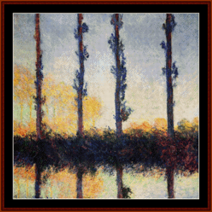 Four Poplar Trees - Monet cross stitch pattern by Cross Stitch Collectibles | Crafting | Cross-Stitch | Wall Hangings