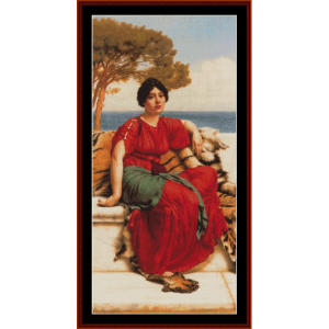 by the blue ionian sea, 1916 - godward cross stitch pattern by cross stitch collectibles