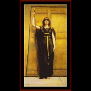 the priestess, 1895 - godward cross stitch pattern by cross stitch collectibles