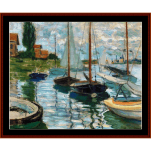 Sailboats on the Seine at Peitit Gennevilliers custom cross stitch pattern by Cross Stitch Collectibles | Crafting | Cross-Stitch | Wall Hangings