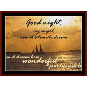 goodnight my angel - custom cross stitch pattern by cross stitch collectibles
