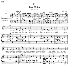 das echo d.990, low voice in g major, f. schubert