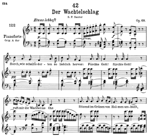 der wachtelschlag d.742,  low voice in e-flat major, f. schubert