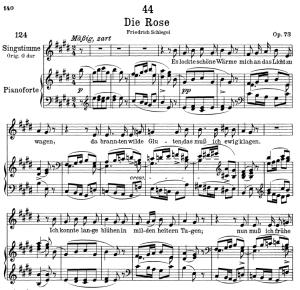 die rose d.745,  low voice in e major, f. schubert