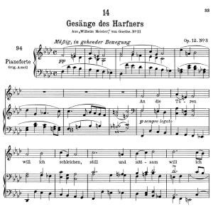 """gesänge des harfners d.478-3 """"an die türen will ich schleichen"""", low voice in f minor, f. schubert"""