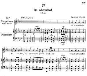 im abendrot d.799,  low voice in e-flat major, f. schubert