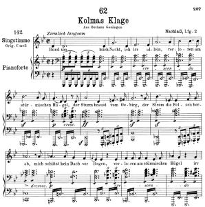kolma's klage d.217,  low voice in g minor, f. schubert.