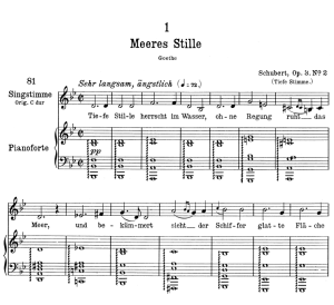 meeres stille d.216 in b flat major,  low voice in b-flat major, f. schubert.
