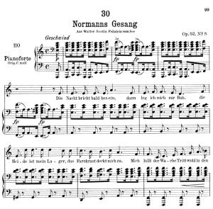 normanns gesang d.846,  low voice in a minor, f. schubert.