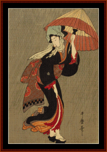 beauty in the rain - asian art cross stitch pattern by cross stitch collectibles