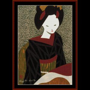 Maiko Kyoto - Asian Art cross stitch pattern by Cross Stitch Collectibles | Crafting | Cross-Stitch | Wall Hangings
